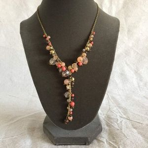"""Coral & Gold """"Y"""" Beaded Necklace & Earring Set"""